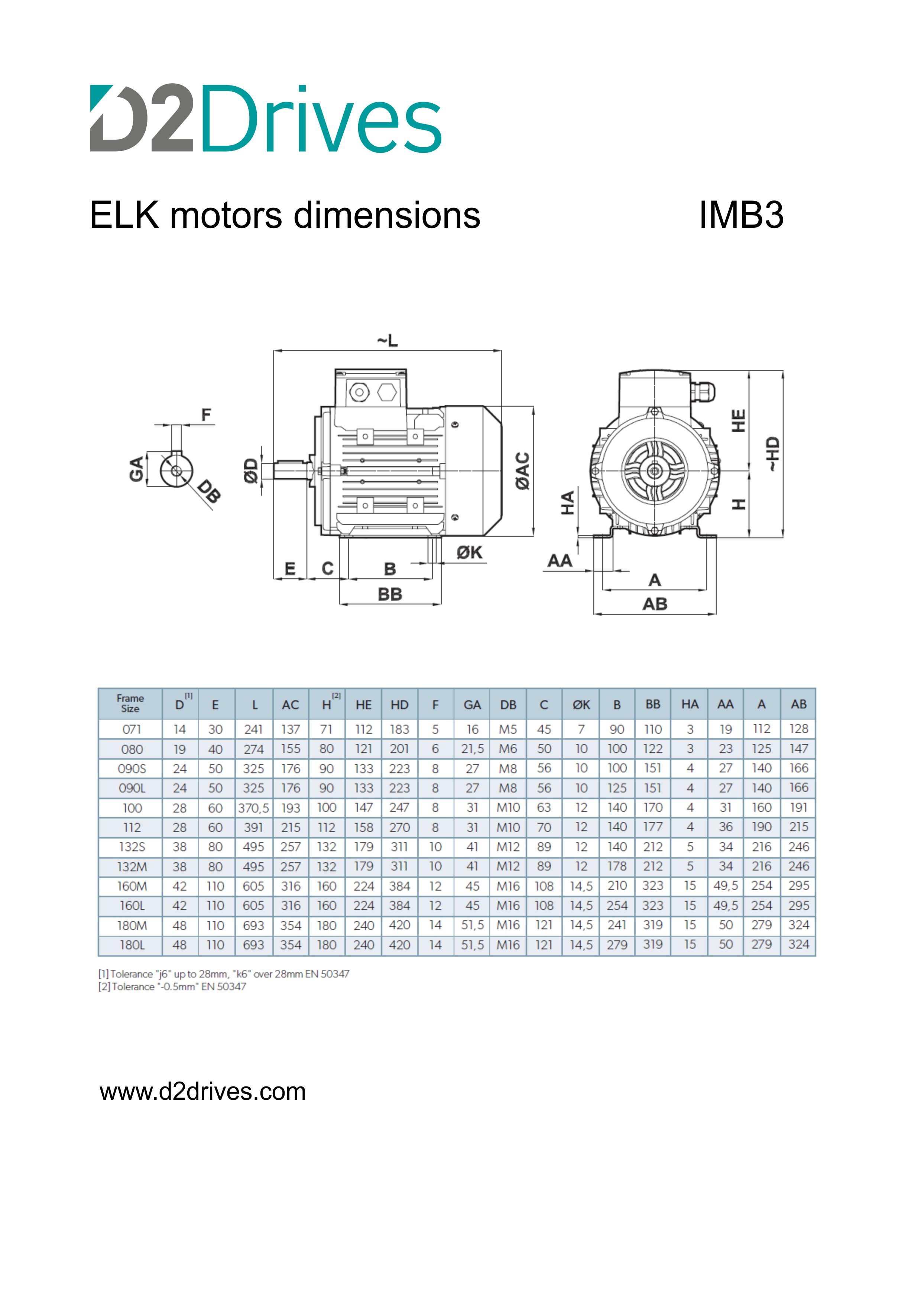 ELK motors - dimensions IMB3